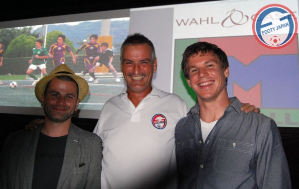 Footy Japan CEO Sid Lloyd (c) with Wahl & Case founders Michael Case (L) & Casey Wahl (R)
